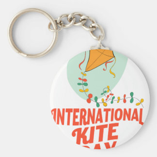 14th January - International Kite Day Basic Round Button Key Ring