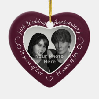 14th Wedding Anniversary Photo Ceramic Heart Decoration