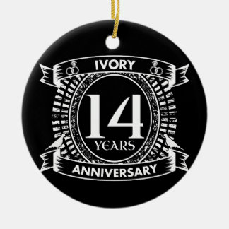 14TH wedding IVORY anniversary Ceramic Ornament