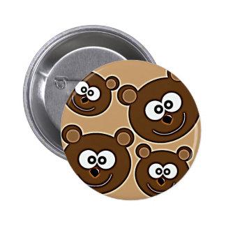 153 HAPPY SMILING BROWN BEARS RETRO STYLE DIGITAL 6 CM ROUND BADGE