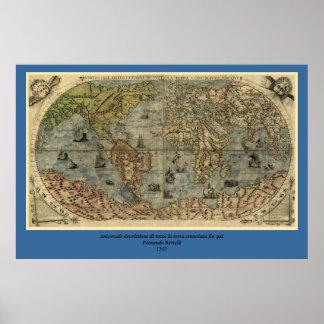 1565 Ferando Berteli (Fernando Bertelli) World Map Poster