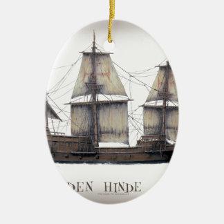 1578 Golden Hinde ship Ceramic Ornament