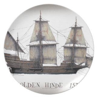 1578 Golden Hinde ship Plate