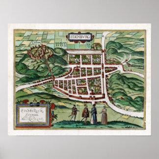 1580 Edinburgh Map Poster
