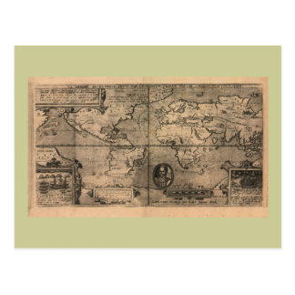 1581 Antique World Map by Nicola van Sype Postcard