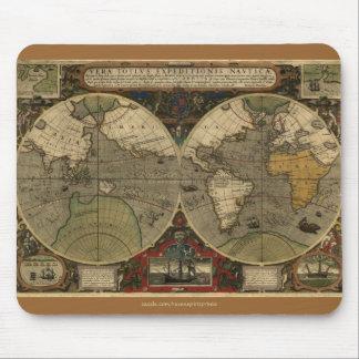 """1595 Hondius Worlde Map"" Vintage Art Mouse Pad"