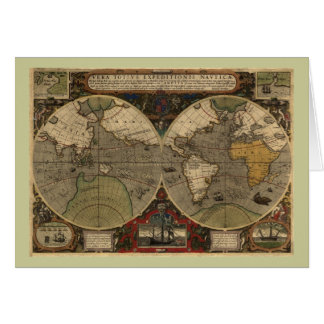 1595 Vintage World Map by Jodocus Hondius Card