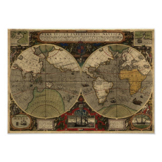 1595 Vintage World Map by Jodocus Hondius Poster