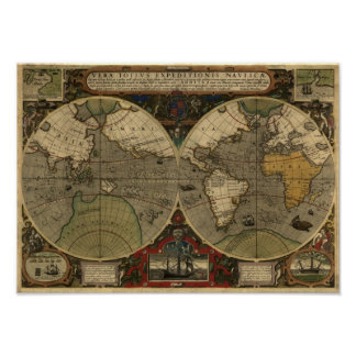 """1595 World Map of Hondius"" Historic Map Poster"
