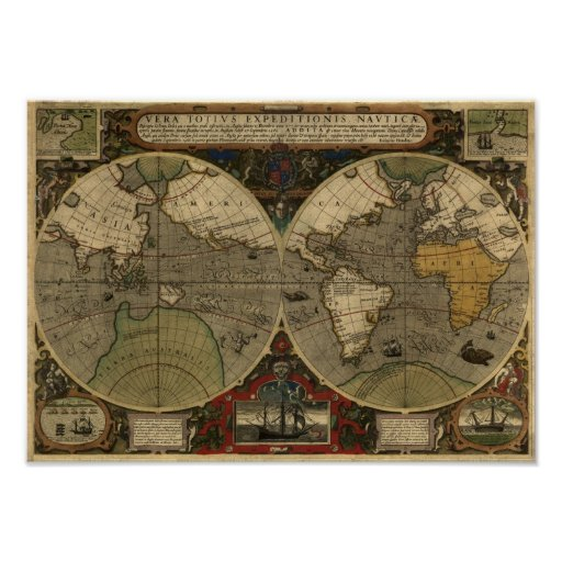 """1595 World Map of Hondius"" Historic Map Print"
