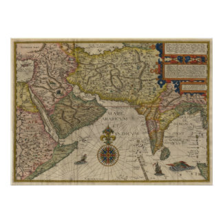1596 Map of Southern Asia Poster