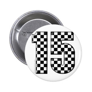 15 checkered auto racing number 6 cm round badge