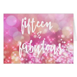 15 & Fabulous, Glamour 15th Birthday Greeting Card