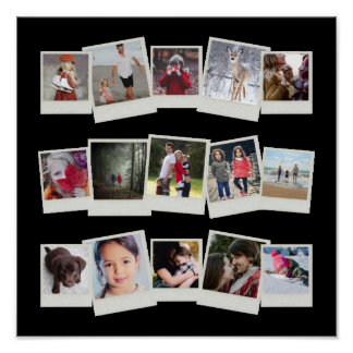 15 Instant Film Photos Photo Gift Collage Black Poster