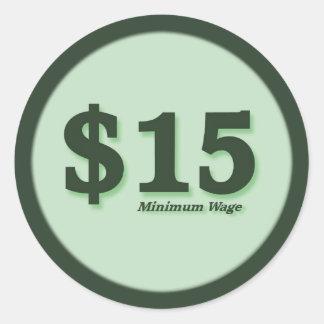 $15 Minimum Wage cash stickers - dark number