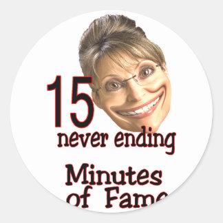 15 minutes of fame round sticker
