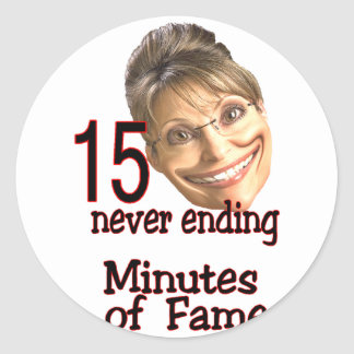 15 minutes of fame round stickers