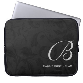 "15"" Monogrammed Black Damask Laptop Sleeve"