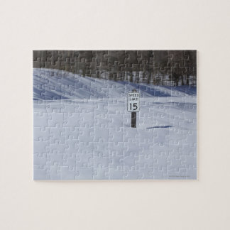 15 mph sign buried in snow puzzle