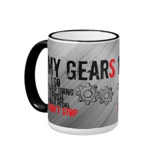 """15 oz Mug, """"MY GEARS"""" Ringer Mug"""
