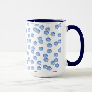 15 oz ringer mug with blue polka dots
