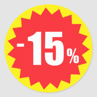 15 percent sale discount stickers, yellow and red
