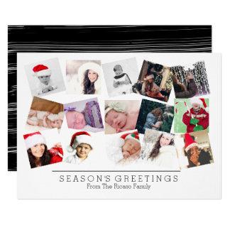 15 Photo Collage Christmas Black White Card