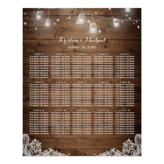 15 Tables Rustic String Lights Seating Chart Poster