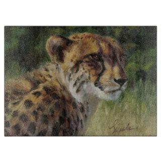 "15"" x 11"" Glass Cheetah Cutting Board"