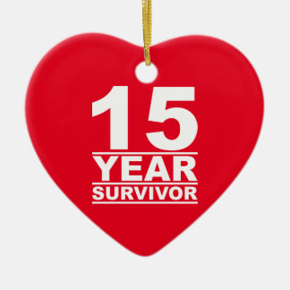 15 year survivor ceramic ornament