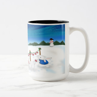 15oz Long Hort two toned mug