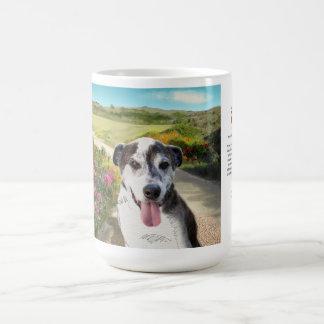15oz Mug: Pie in a Field of Dahlias (dog on trail) Coffee Mug