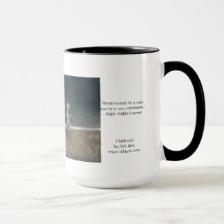 15oz mug with 'Childhood' art and Emerson quote.