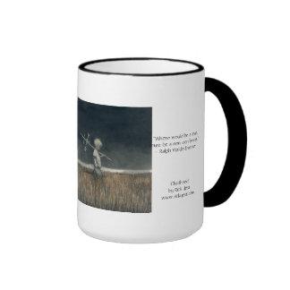 15oz mug with 'Childhood' art and Emerson quote. Ringer Mug