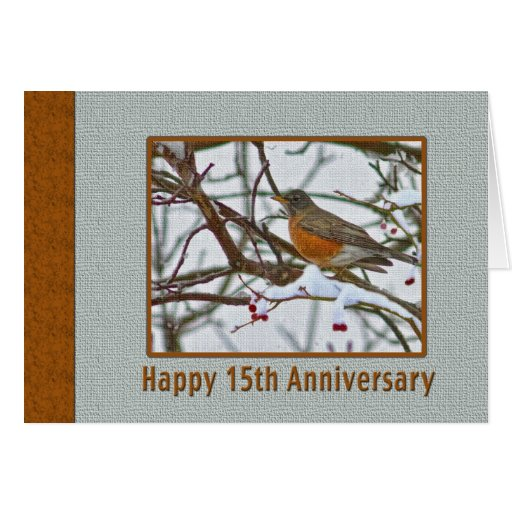 15th Anniversary Card with Robin in the Snow