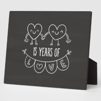 15th Anniversary Gift Chalk Hearts Photo Plaque