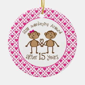 15th Anniversary Monkey Love Ornament