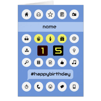 15th birthday add name personalized computing card
