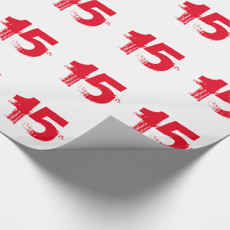 15th birthday for anyone, red on white. wrapping paper