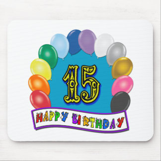 15th Birthday Gifts with Assorted Balloons Design Mouse Pad