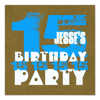 15th Birthday Party 15 Year Old Grunge Z15A 13 Cm X 13 Cm Square Invitation Card