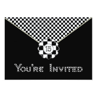 15th BIRTHDAY PARTY INVITATION - BLK/WHT ENVELOPE