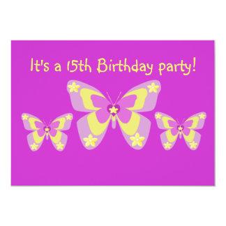 15th Birthday Party Invitation, Butterflies 13 Cm X 18 Cm Invitation Card