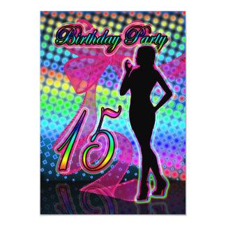 15th Birthday Party Invitation, Neon With Female S 13 Cm X 18 Cm Invitation Card