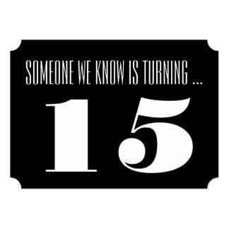 15th Birthday party Invite, black and white. 13 Cm X 18 Cm Invitation Card
