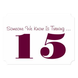 15th Birthday party Invite, plum and white. 13 Cm X 18 Cm Invitation Card