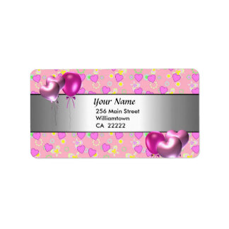 15th Birthday Party Pink Hearts Address Label