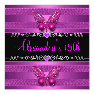 15th Birthday Party Purple Pink Butterfly 13 Cm X 13 Cm Square Invitation Card