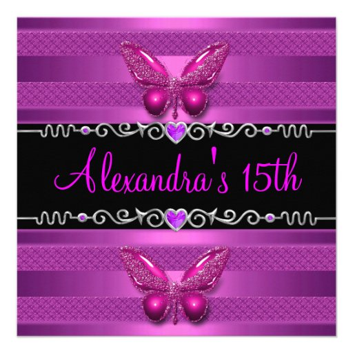 15th Birthday Party Purple Pink Butterfly Invitations