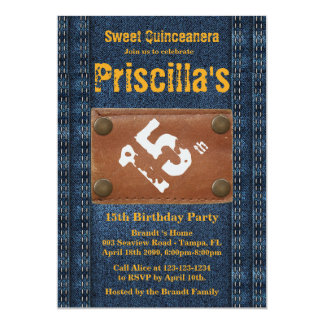 15th Birthday Party Woman, Any age, Denim style 13 Cm X 18 Cm Invitation Card